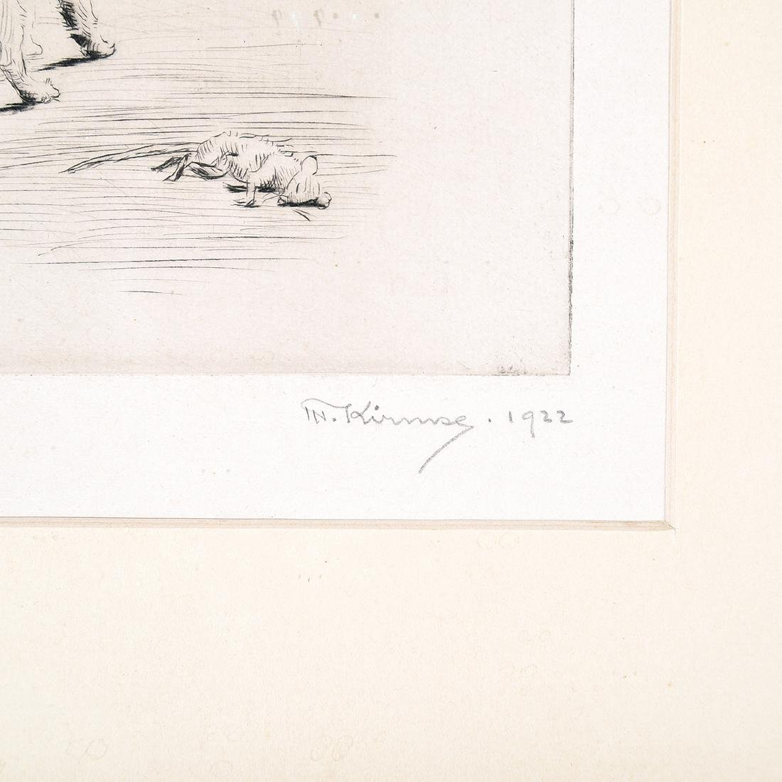 """Marguerite Kirmse """"His First Kill"""" drypoint etching - 2"""