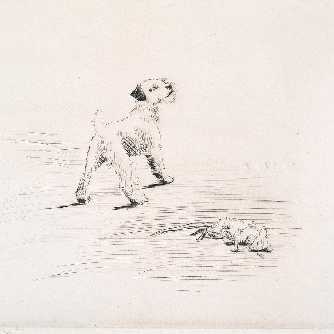 """Marguerite Kirmse """"His First Kill"""" drypoint etching - 3"""