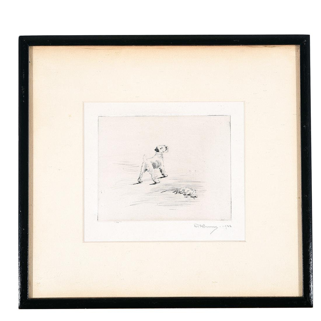 "Marguerite Kirmse ""His First Kill"" drypoint etching - 4"