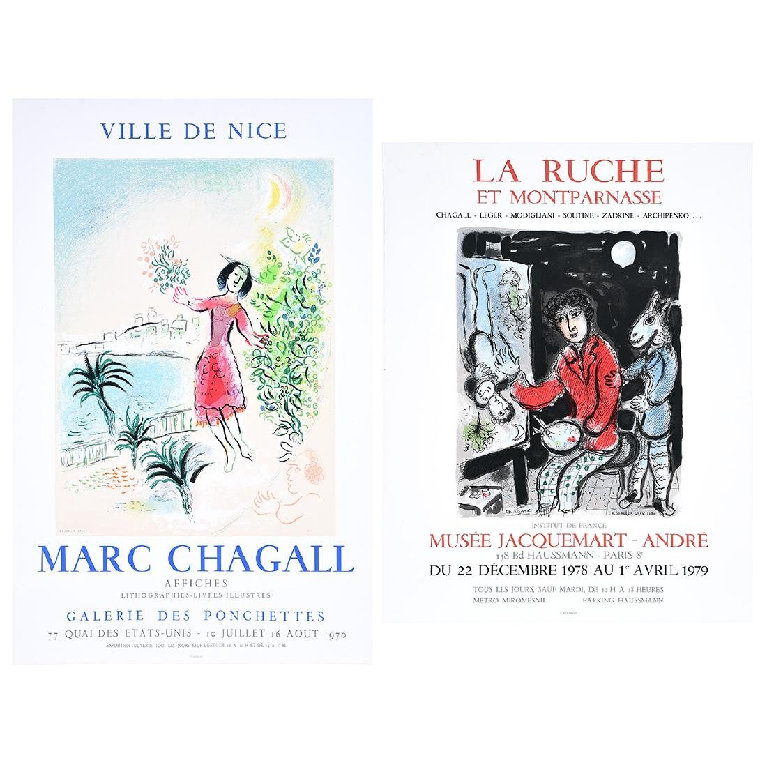 After Marc Chagall 2 lithograph exhibition posters