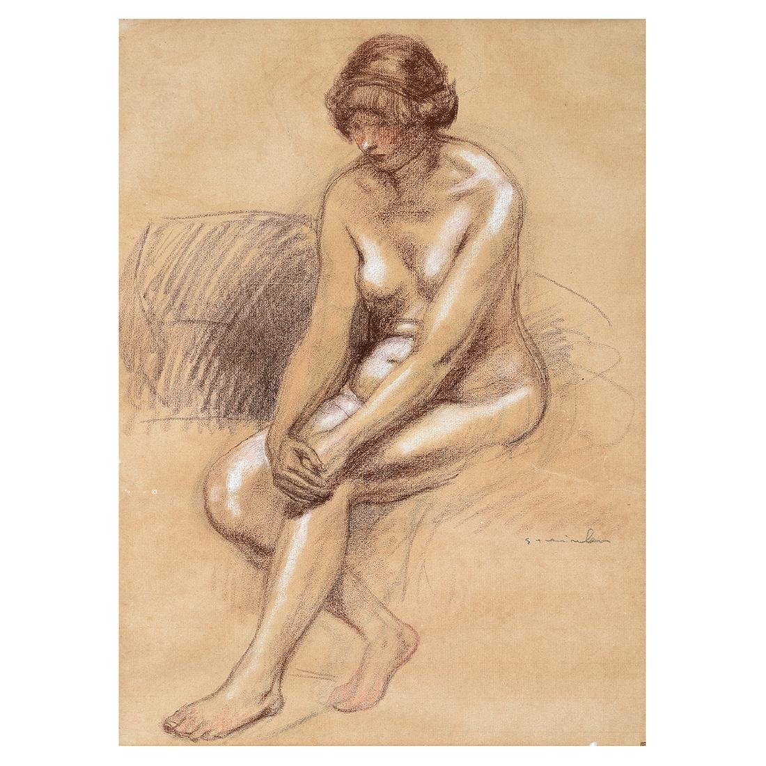 "Theophile Steinlen ""Female Nude"" chalk on toned paper"