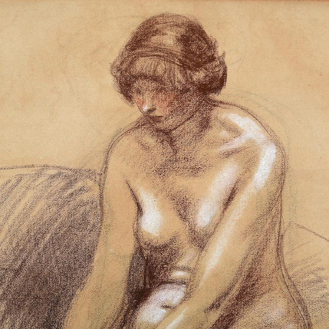 "Theophile Steinlen ""Female Nude"" chalk on toned paper - 3"