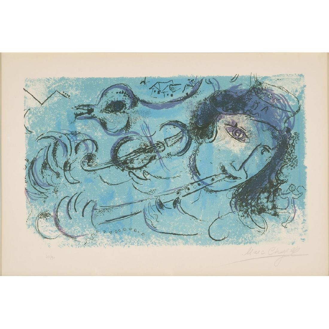 "Marc Chagall ""The Flute Player"" color lithograph"