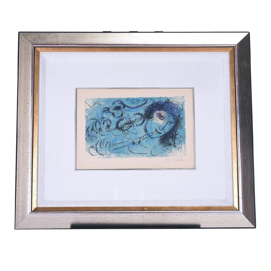 "Marc Chagall ""The Flute Player"" color lithograph - 5"