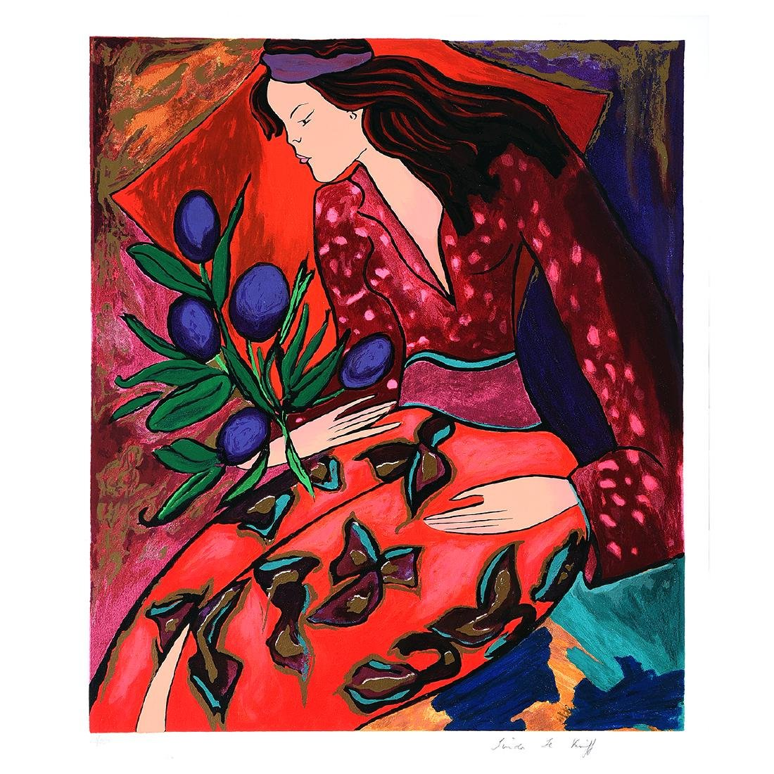 """Linda Le Kniff, French Art, Signed Serigraph """"Woman"""