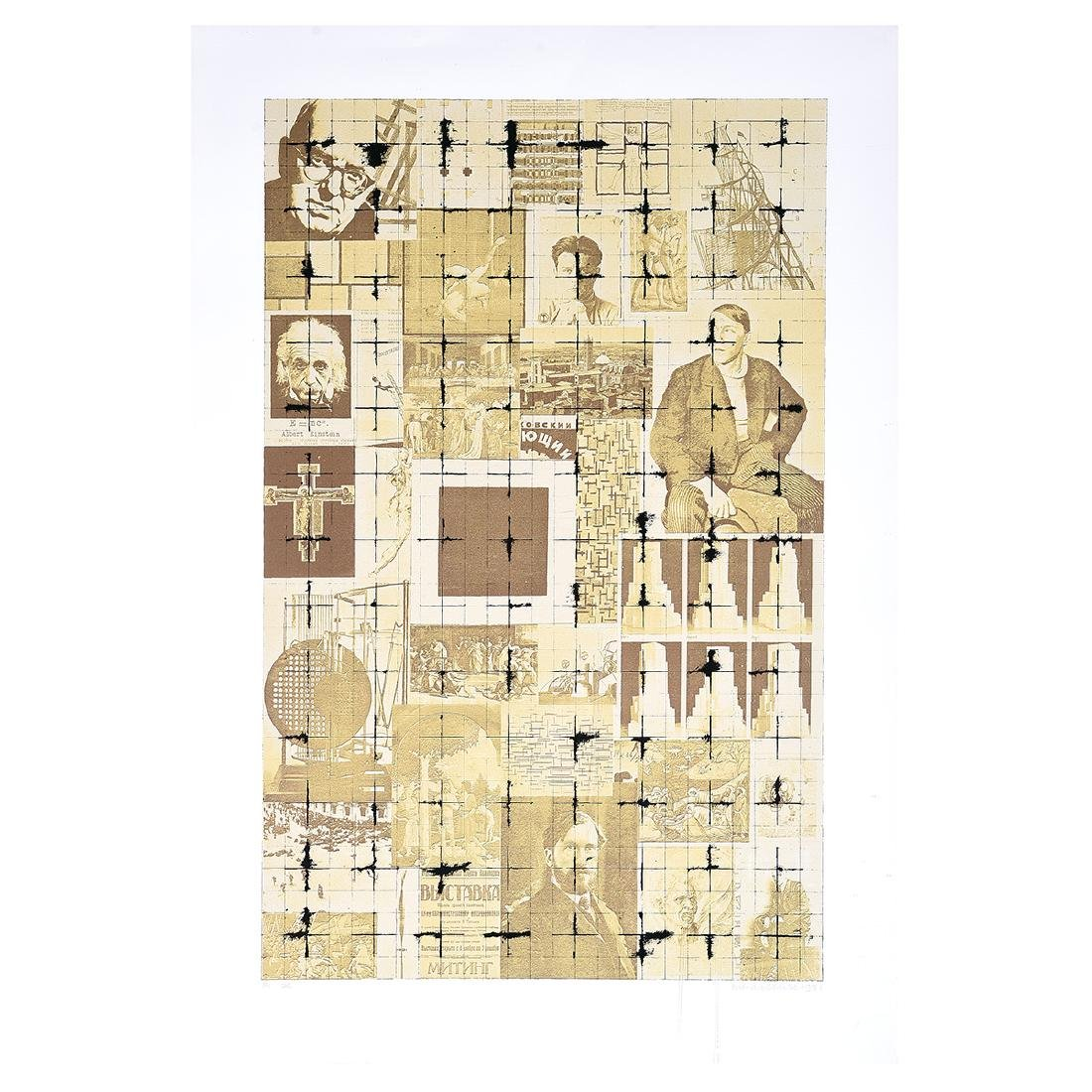 """Brian Clarke """"Abstract with Men"""" screenprint,"""