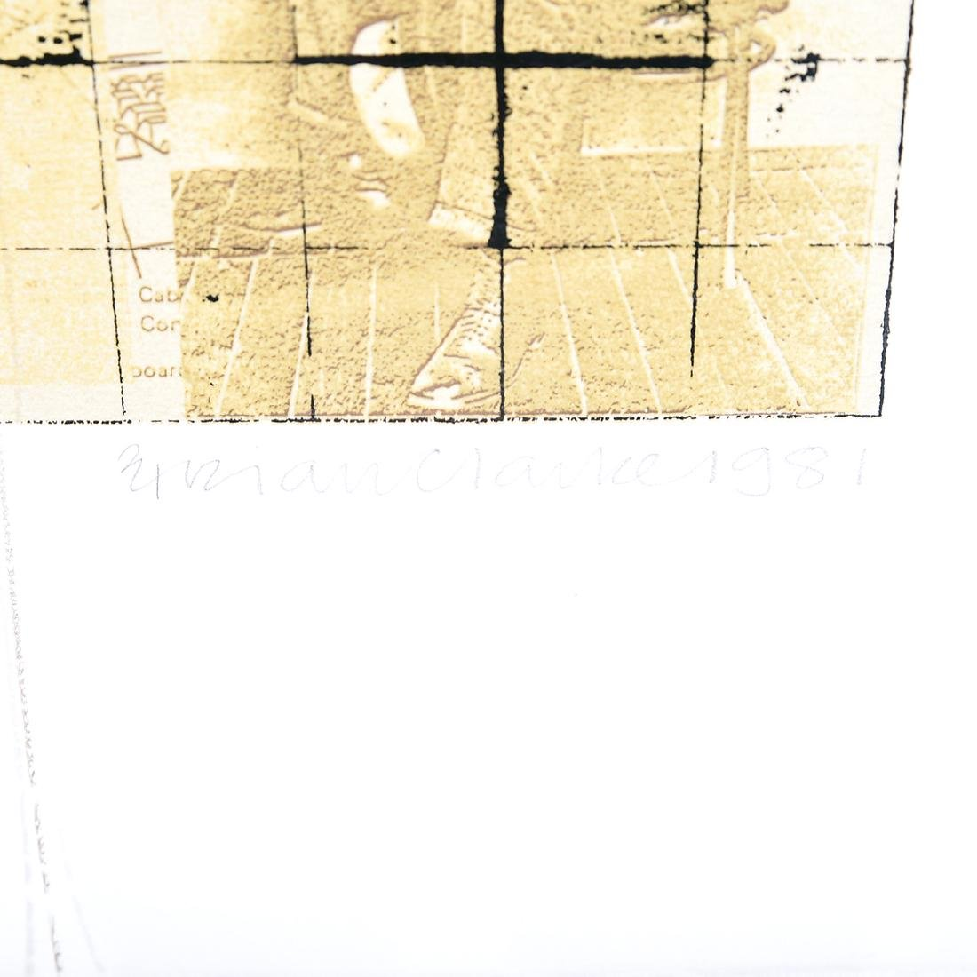 """Brian Clarke """"Abstract with Men"""" screenprint, - 2"""