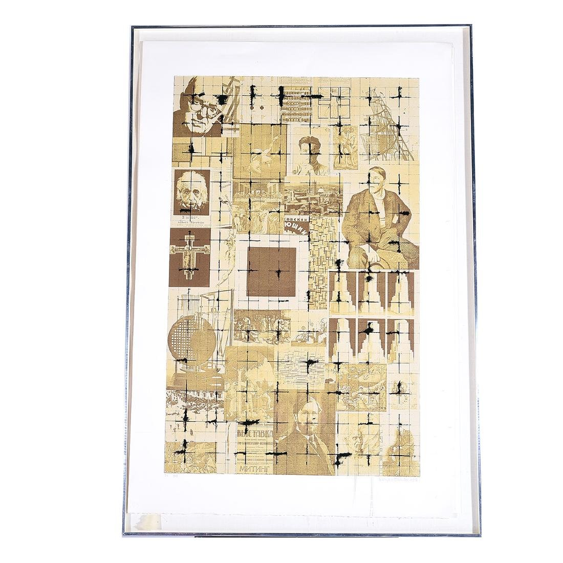 """Brian Clarke """"Abstract with Men"""" screenprint, - 5"""