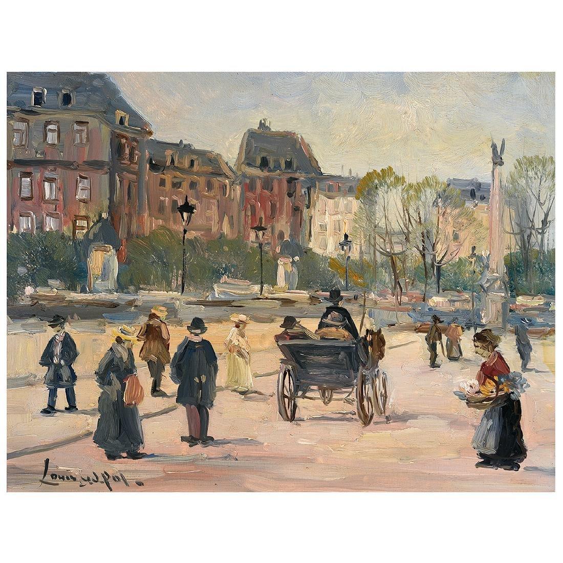 """Louis Van Der Pol """"French Park Scene"""" oil on panel"""