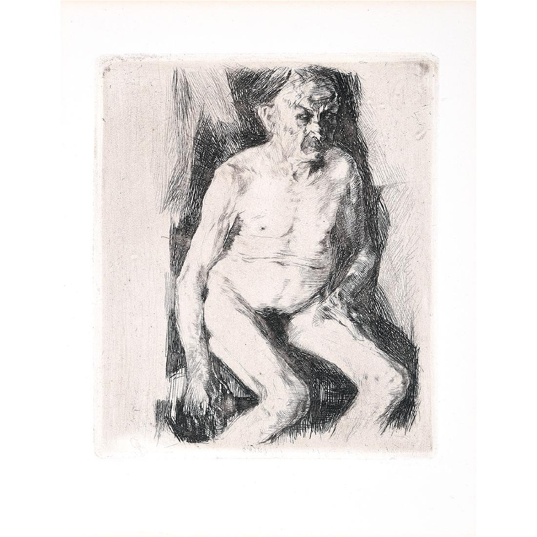 "Kathe Kollwitz ""Seated Male Nude"" etching (re-strike)"