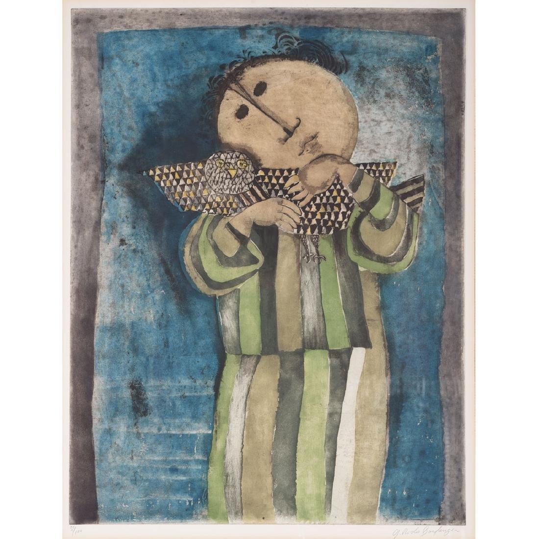 """Graciela Rodo Boulanger """"Figure with Bird"""" aquatint"""