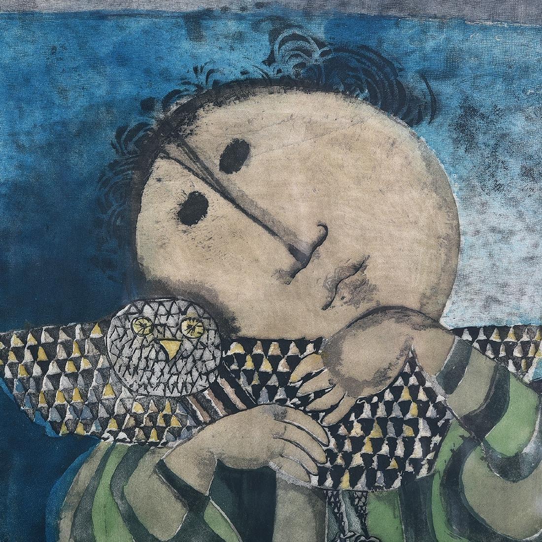 """Graciela Rodo Boulanger """"Figure with Bird"""" aquatint - 3"""