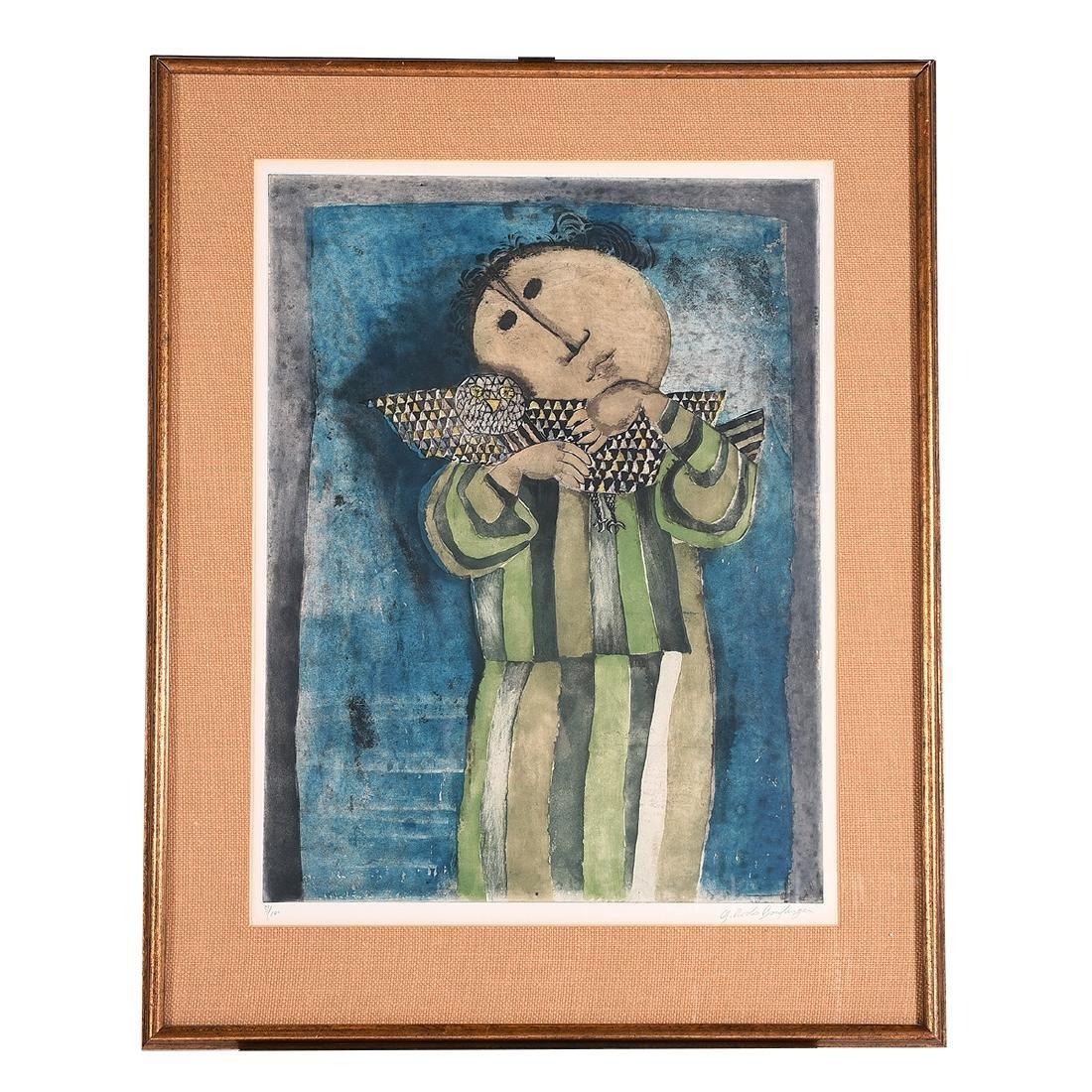 """Graciela Rodo Boulanger """"Figure with Bird"""" aquatint - 4"""