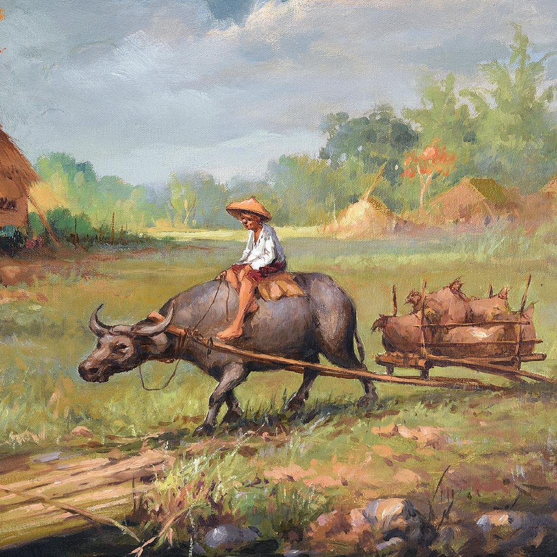 "Oscar Navarro, Filipino Art, two ""Genre Scenes"" oil on - 3"
