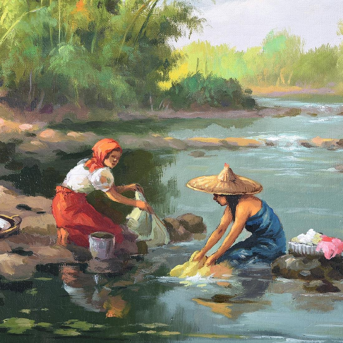 "Oscar Navarro, Filipino Art, two ""Genre Scenes"" oil on - 6"
