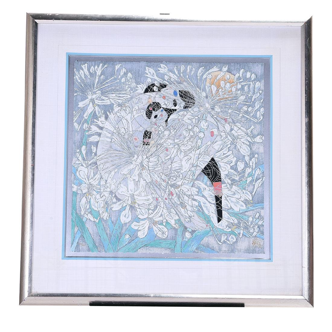 """Tiefeng Jaing, """"Mother and Child"""" Signed Serigraph - 5"""