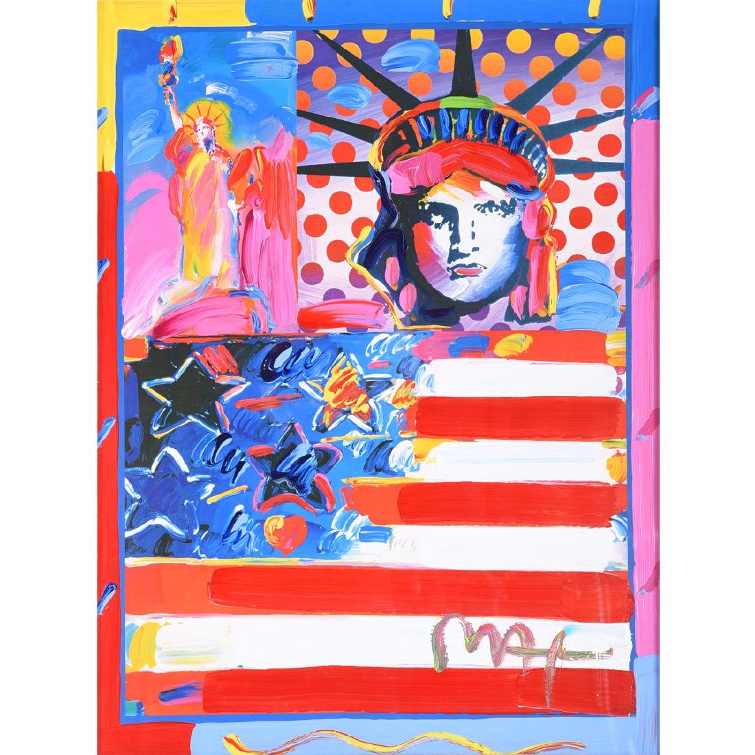 "Peter Max ""God Bless America II"" embellished print"
