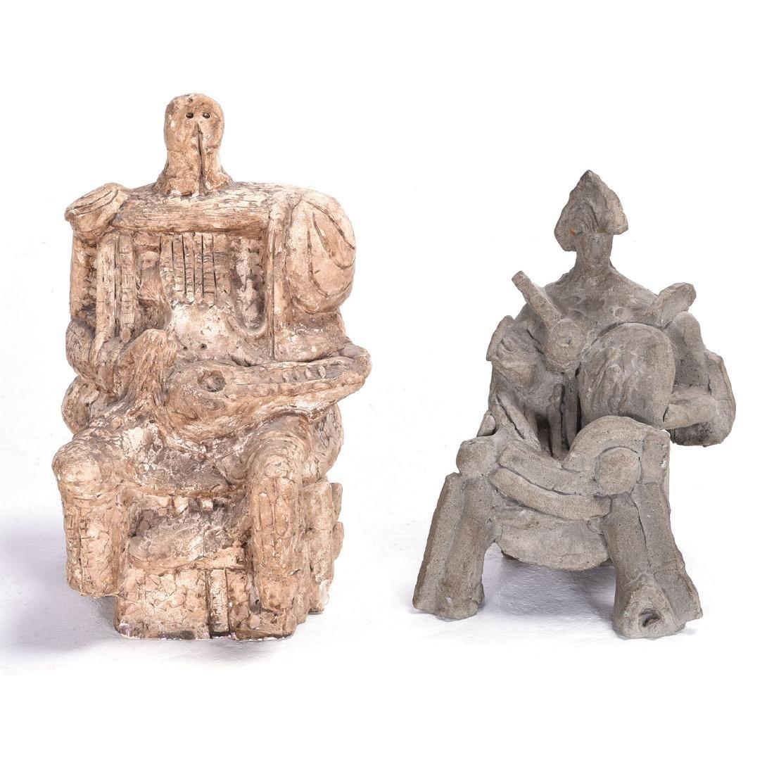 """Emil Lazarevich 2 """"Figures"""" concrete sculpture"""