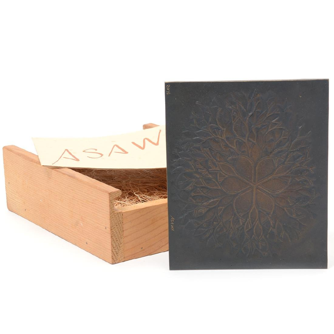 """Ruth Asawa """"Flower with Branches"""" bronze bas relief"""