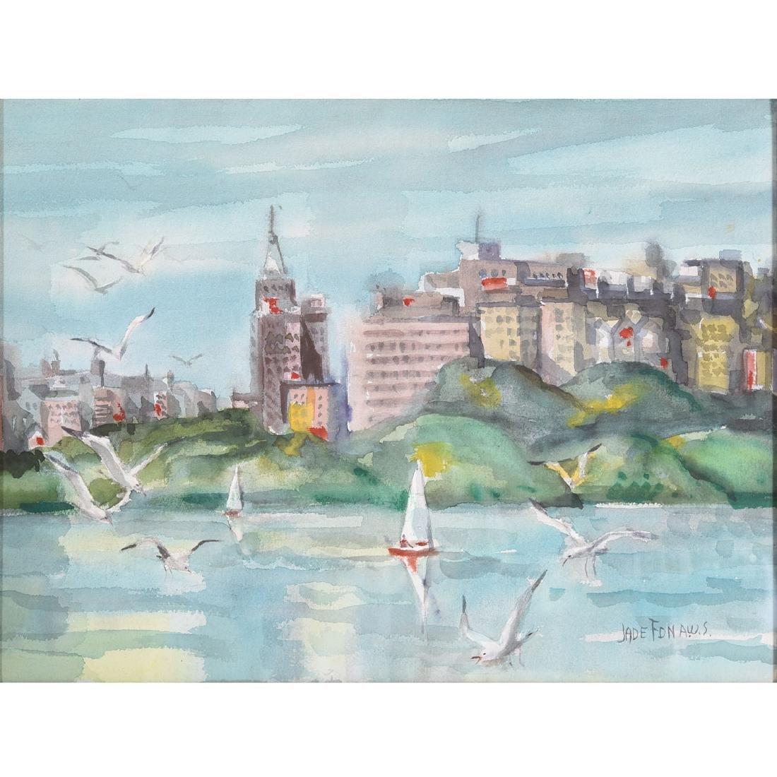 """Jade Fon """"Lake Merritt, Oakland"""" watercolor"""