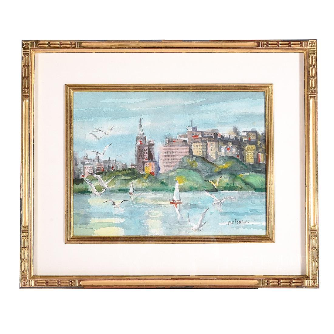 "Jade Fon ""Lake Merritt, Oakland"" watercolor - 4"