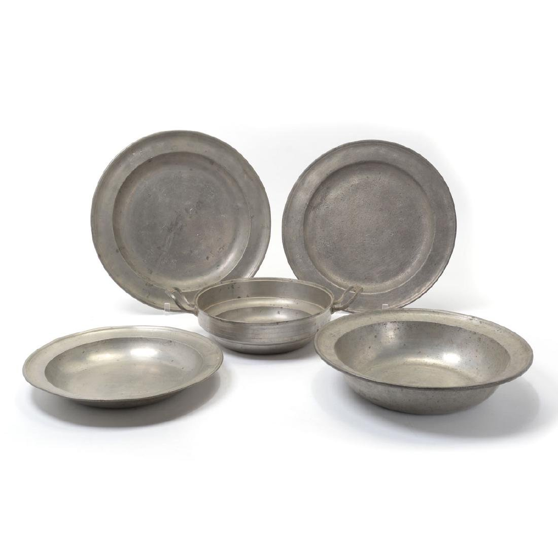 Group of Pewter Chargers and Bowls