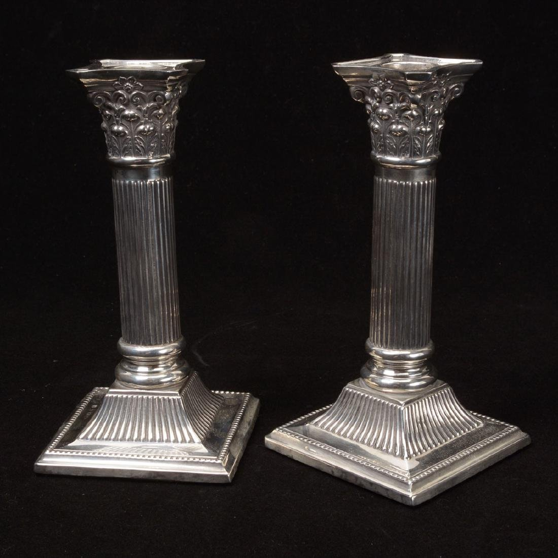 Pair English Sterling Weighted Candlesticks, John