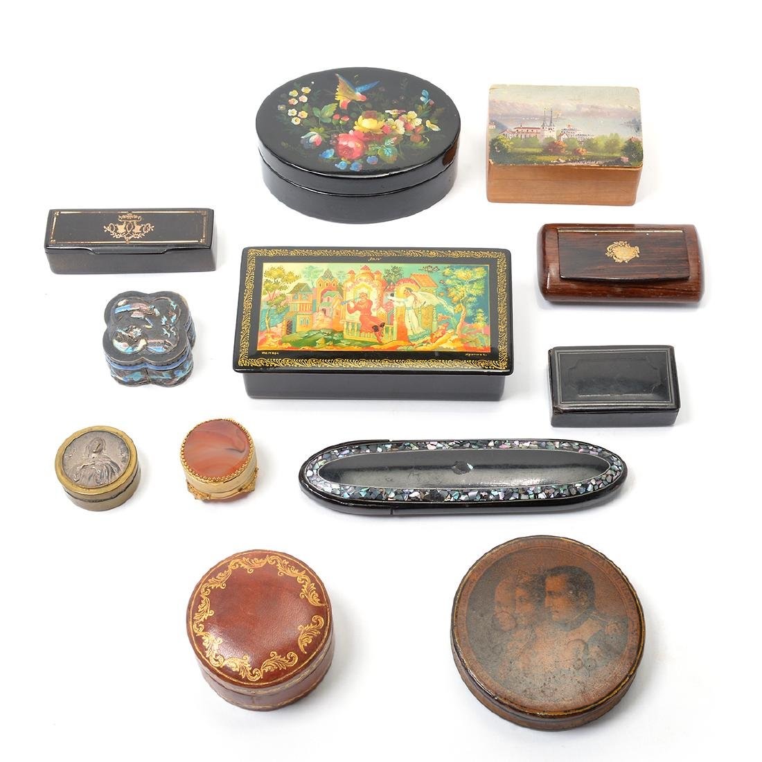 Twelve Decorative Lacquered Snuff or Pill Boxes.