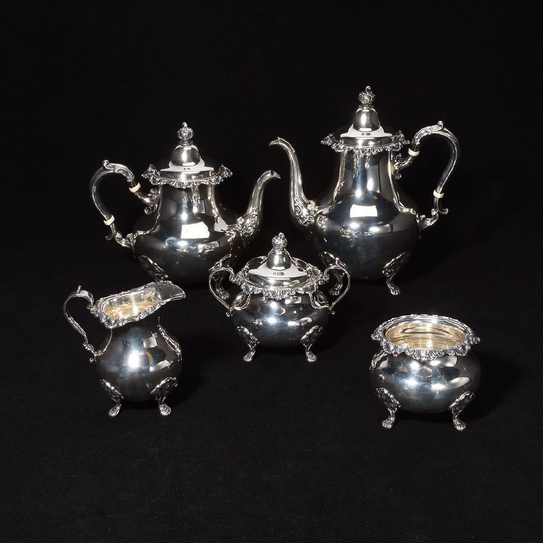Gorham Strasburg Sterling Five Piece Tea Service.