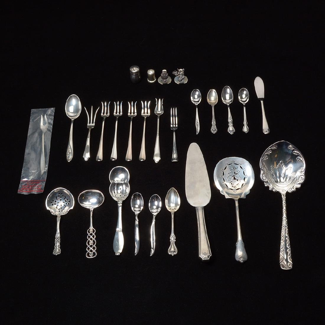 Lot of Sterling Flatware, Shakers, Menu Holders , and