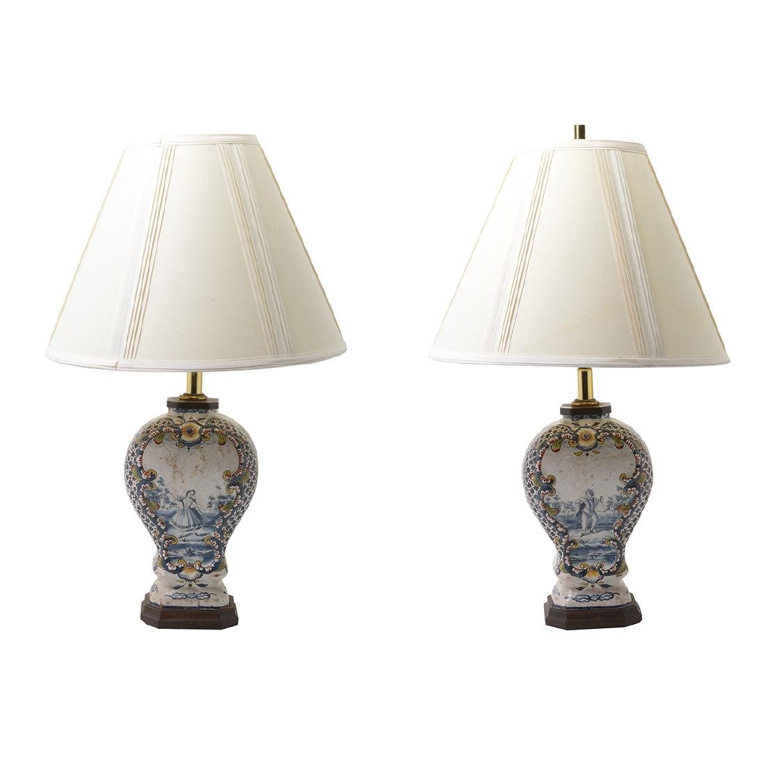 Pair of Delft Ware Jars Mounted as Lamps