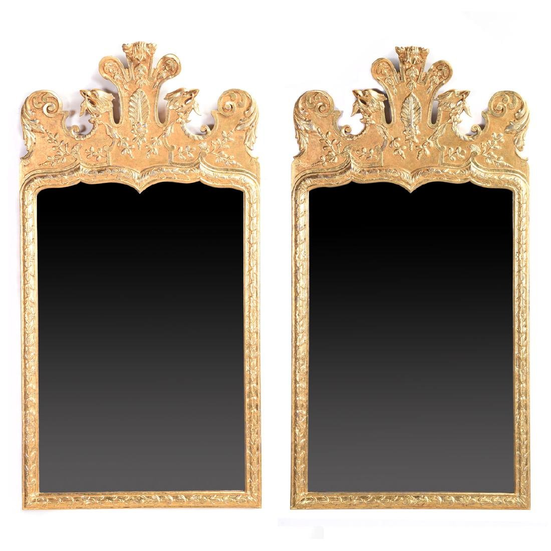 Pair of Queen Anne style giltwood mirrors