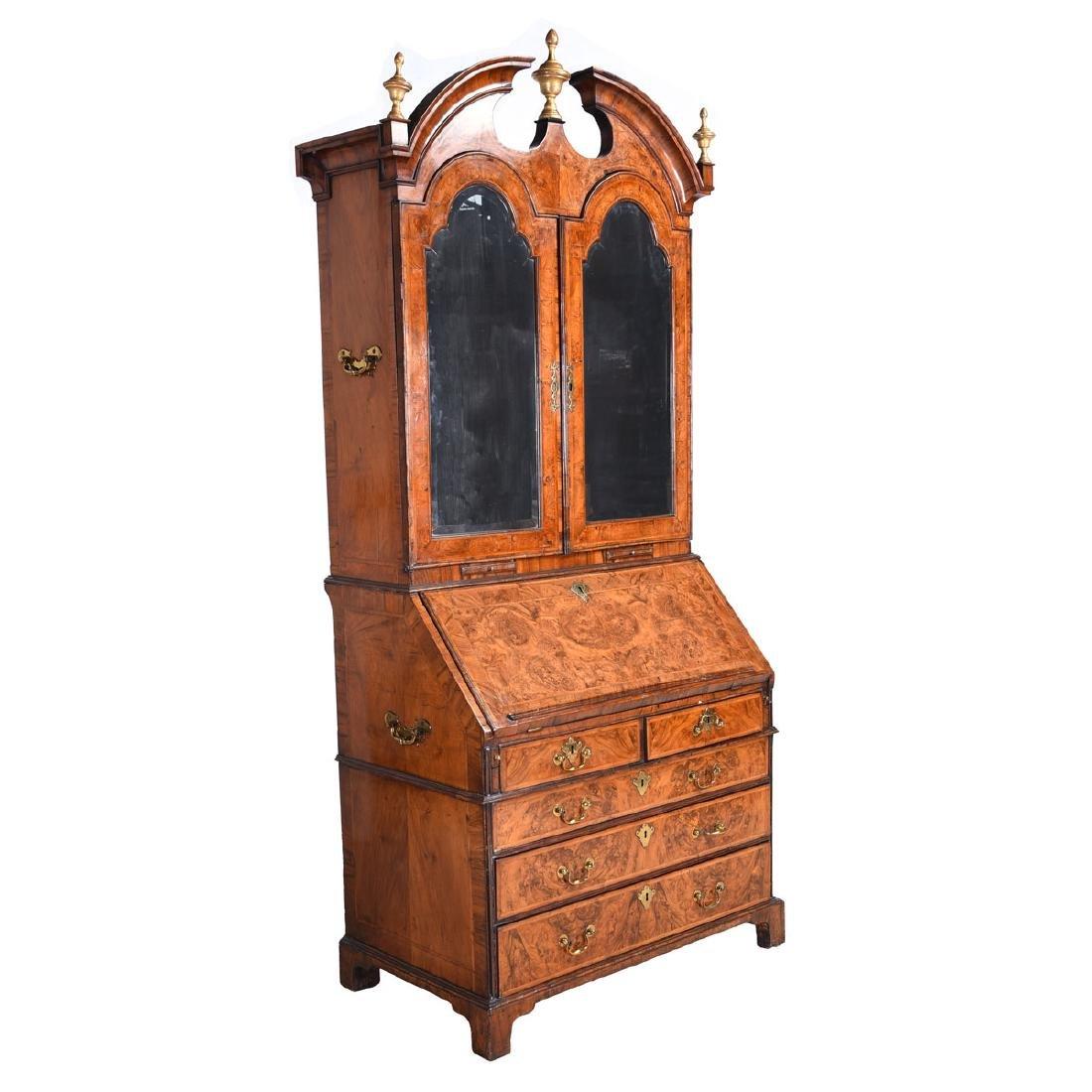 Fine George I Walnut Secretary Bookcase.