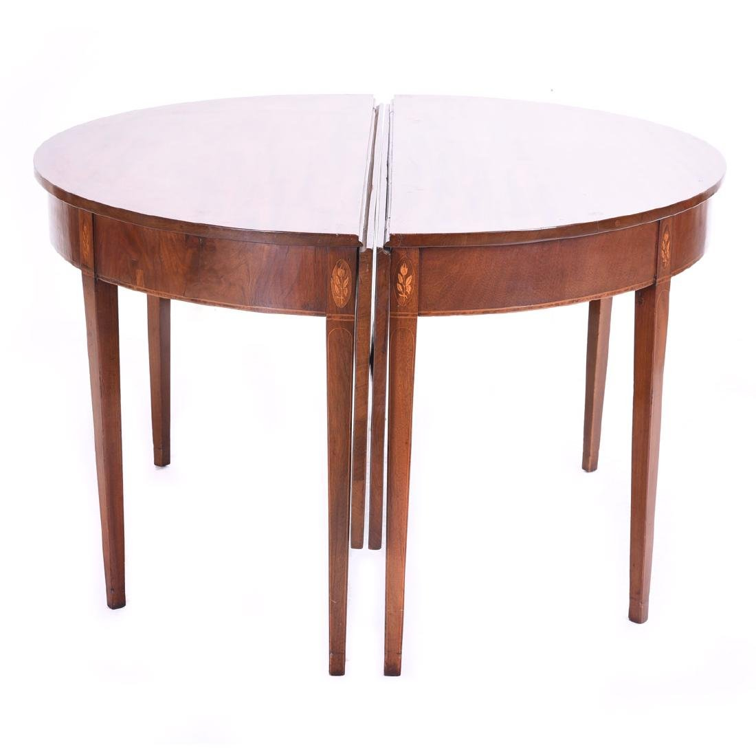 Federal Inlaid Mahogany Two Piece Demi Lune Dining