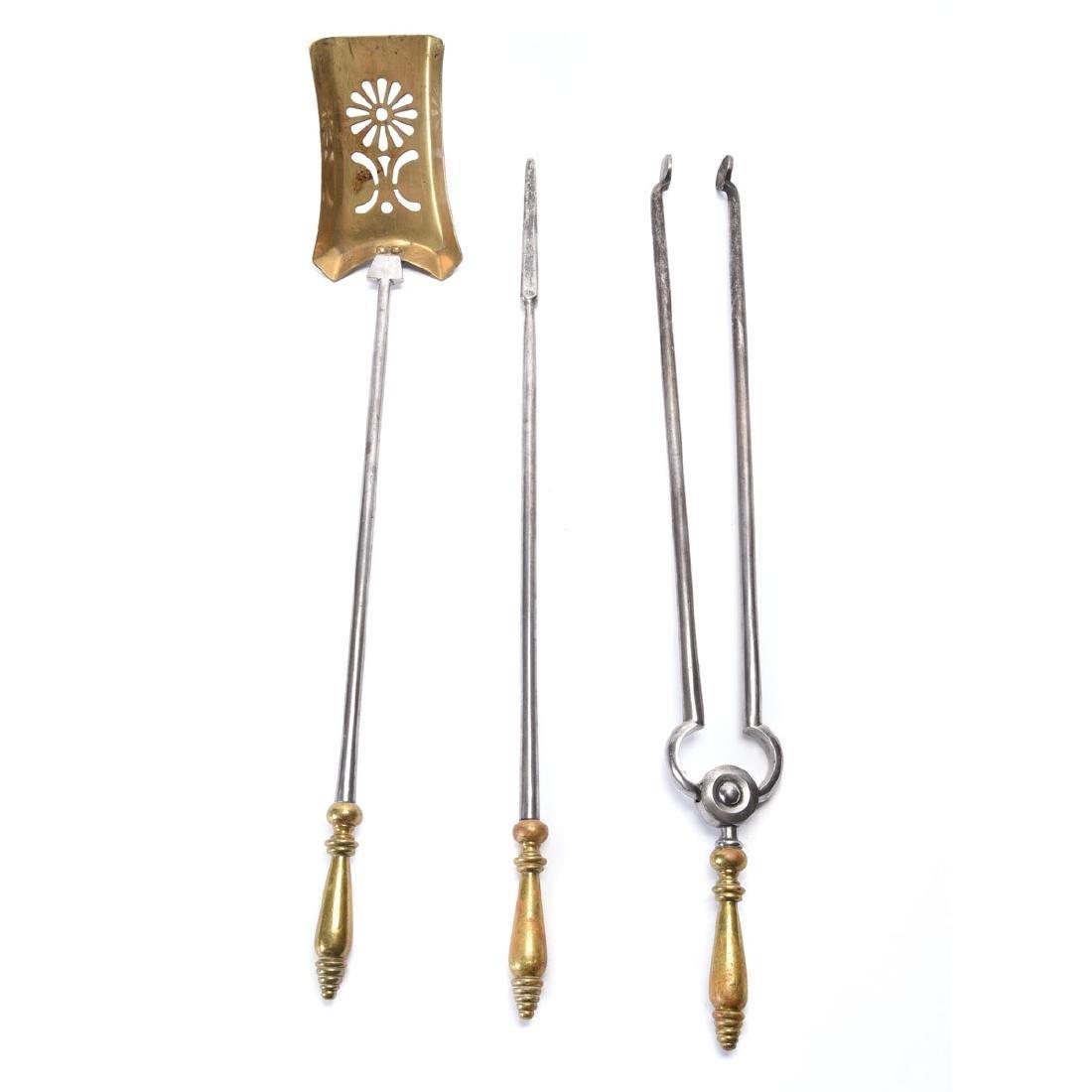 Set of Late Georgian Polished Steel Fire Tools