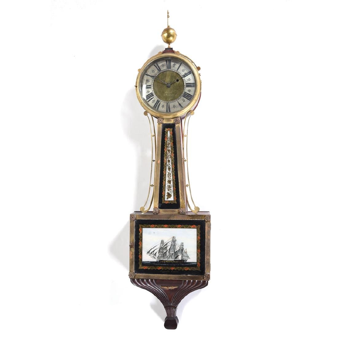 New England Banjo Clock, Inlaid with Gilt Eglomise
