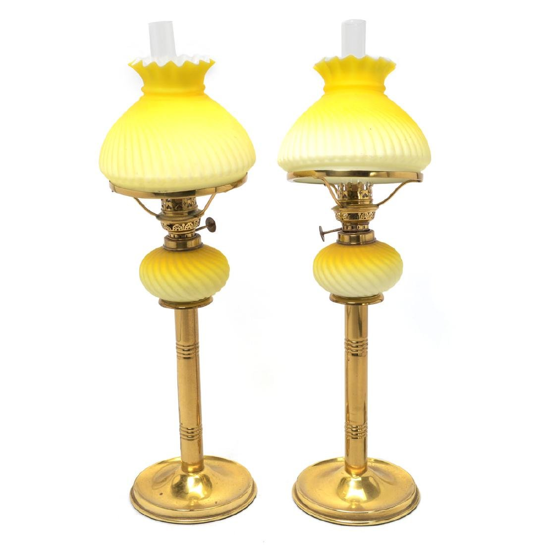 Pair of English Brass and Satin Glass Fluid Lamps, Now