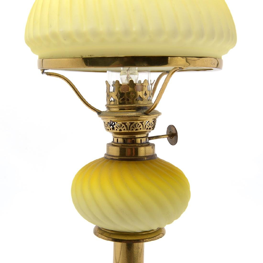 Pair of English Brass and Satin Glass Fluid Lamps, Now - 3