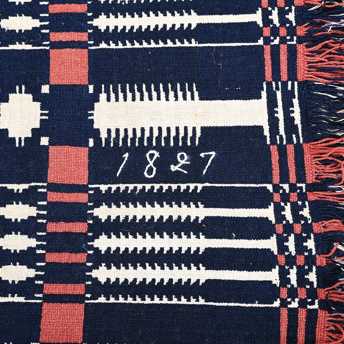 American Blue and White Wool Coverlet, Signed 1827 - 2
