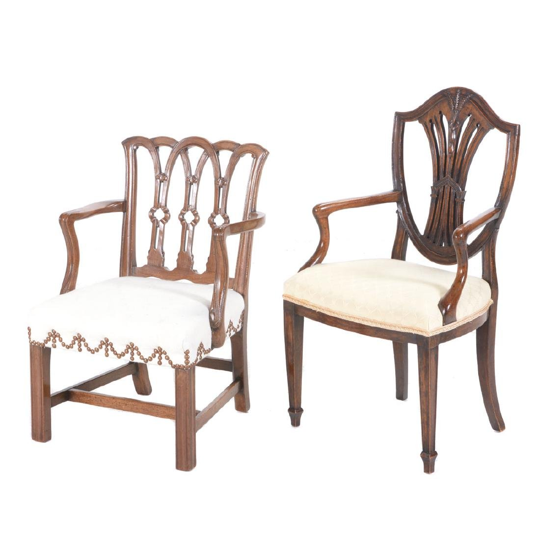 Two George III Style Mahogany Childís Armchairs.