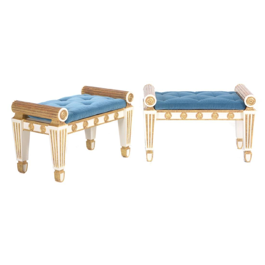 Pair of Regency style parcel gilt painted stools