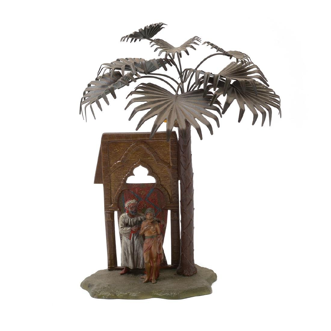 Austrian Cold-Painted Metal Figural Lamp in Form of