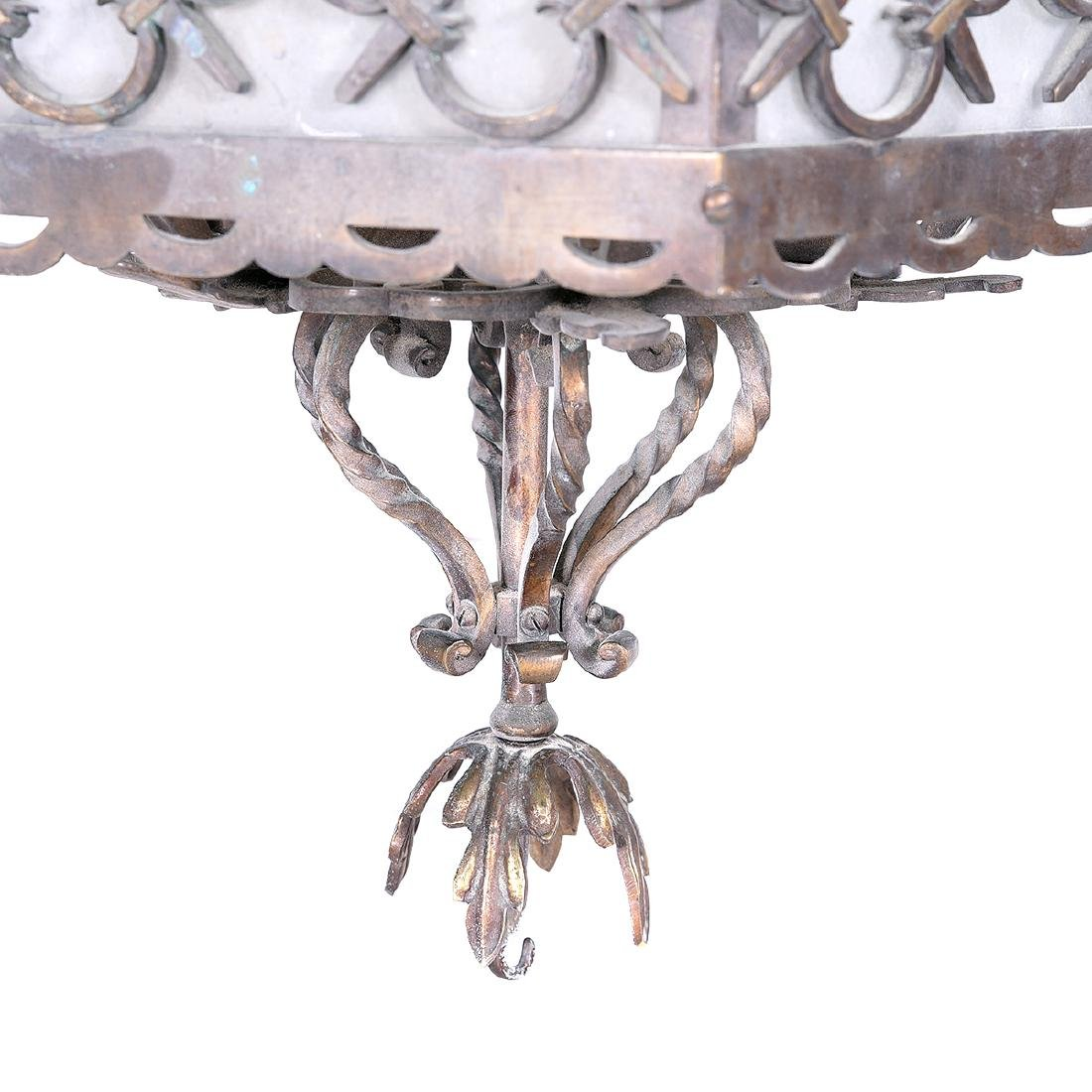 Art Deco Wrought Iron and Glass Lantern Form Chandelier - 4