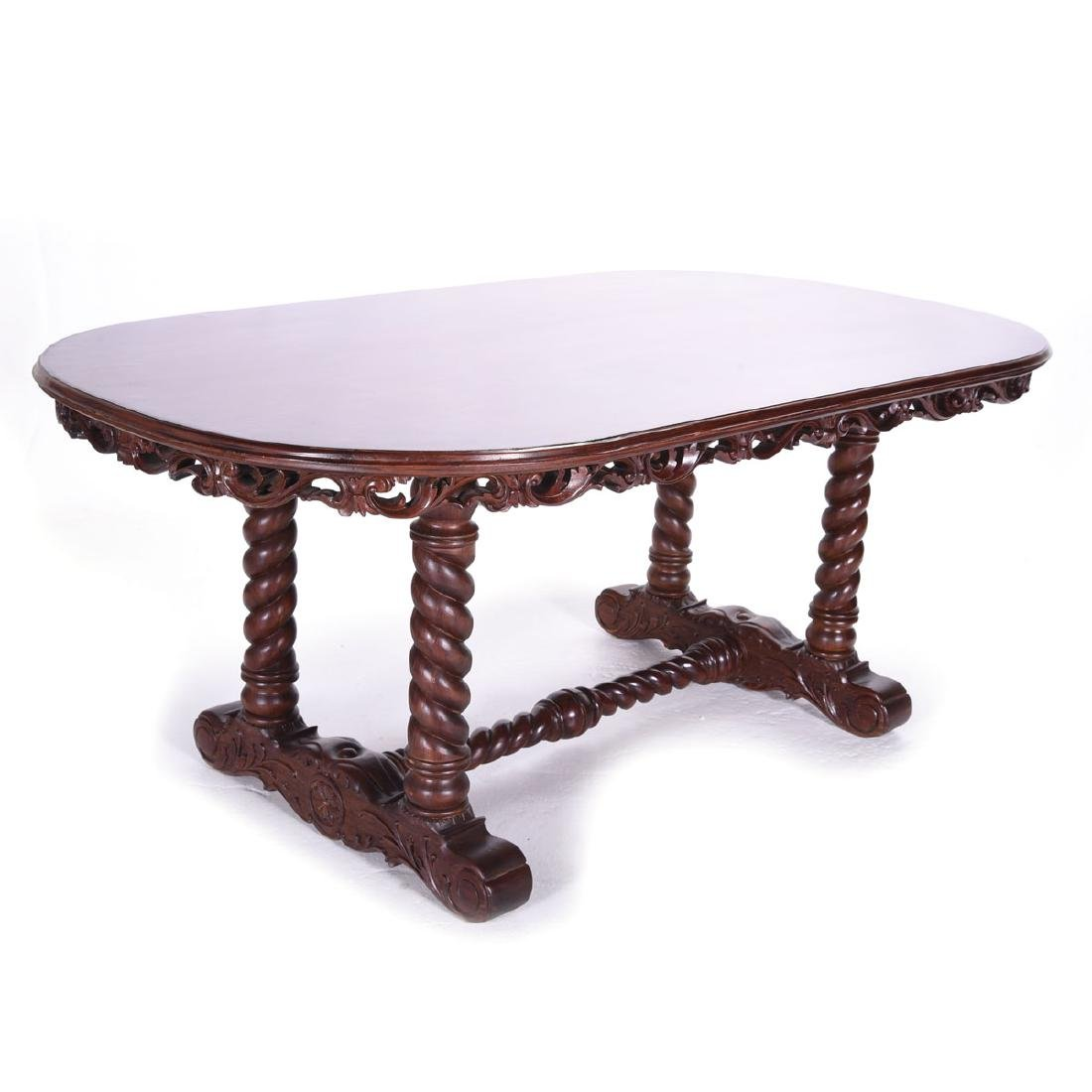 Renaissance Style Barley Twist Refectory Table, with