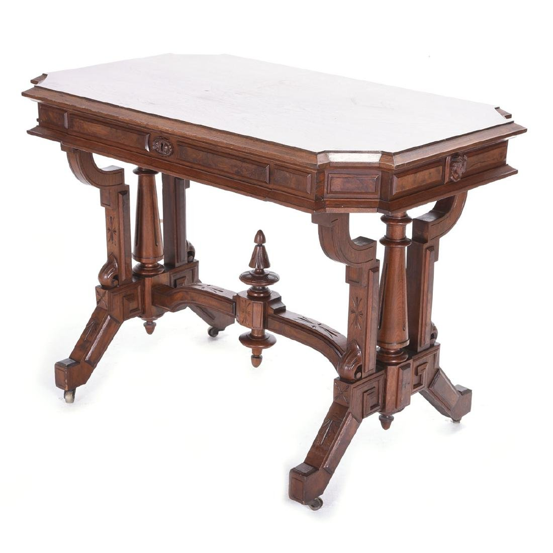 Renaissance Revival Walnut Desk, on Casters, with