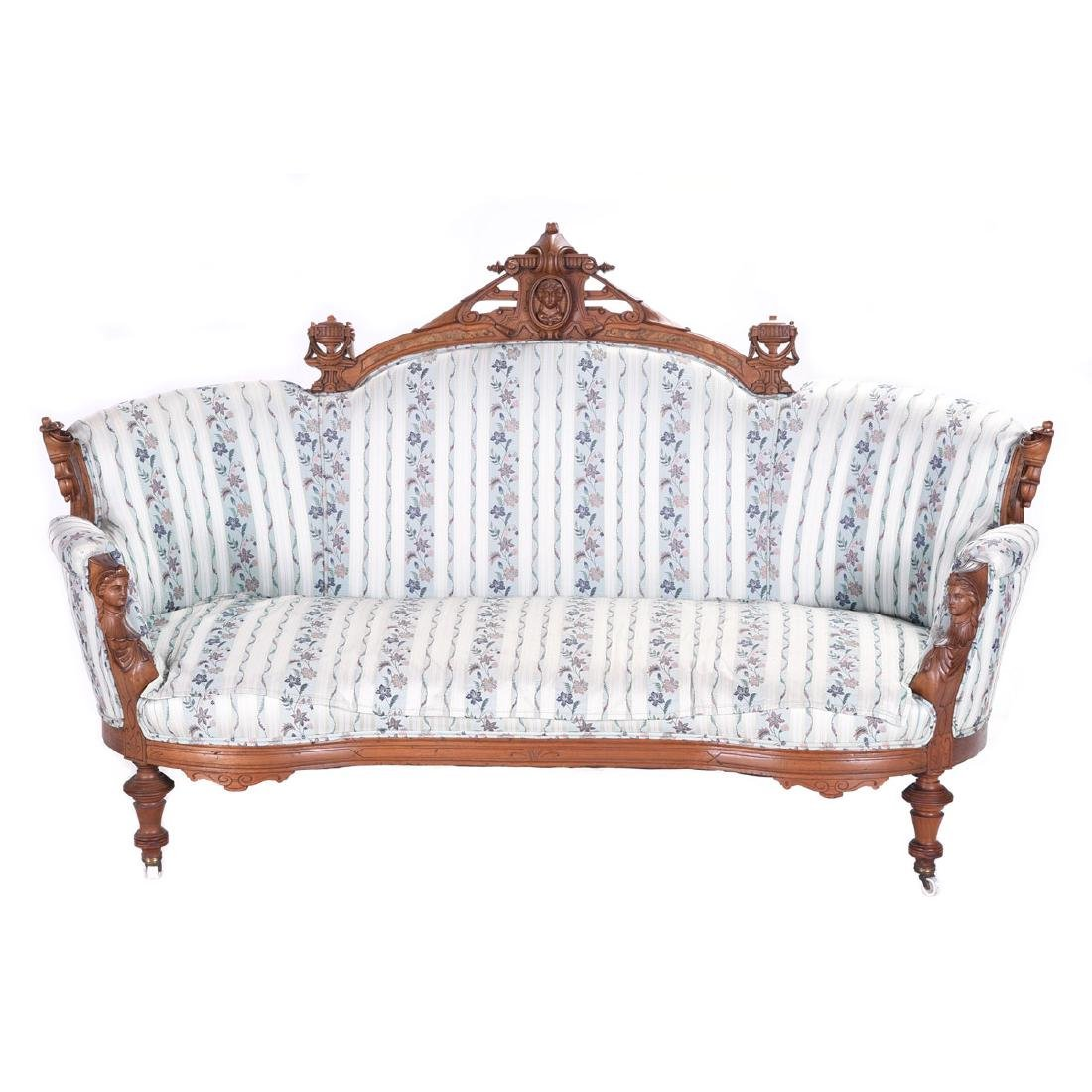 Renaissance Revival Walnut Parlor Settee, with Carved