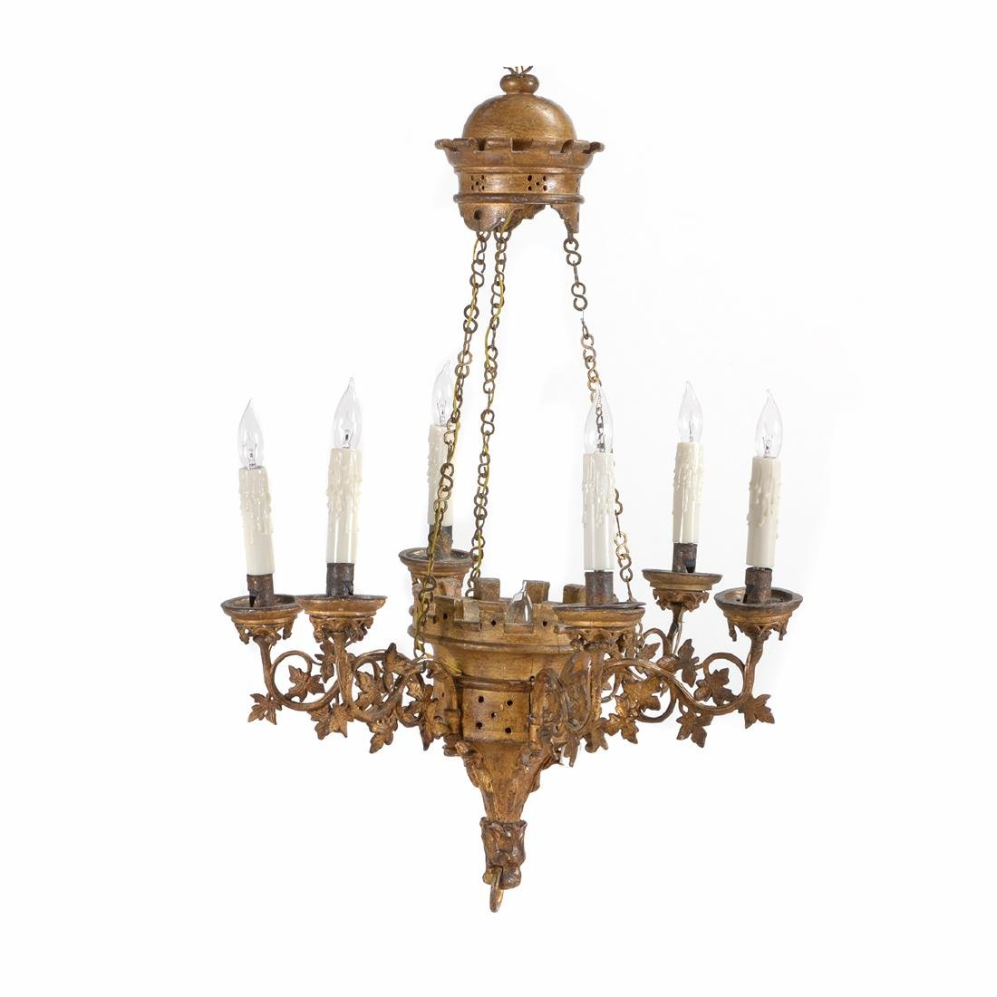 Louis Philippe Neo-Gothic Giltwood Six Light Chandelier