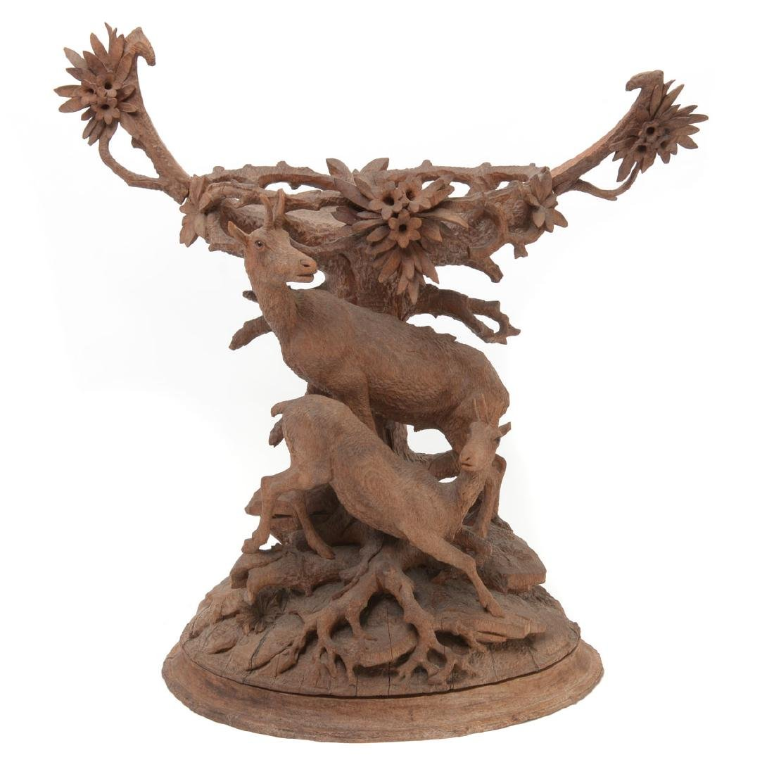 Swiss Carved Wood Centerpiece of Two Mountain Goats,