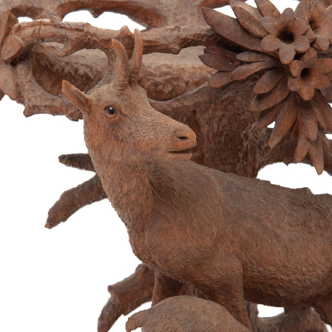 Swiss Carved Wood Centerpiece of Two Mountain Goats, - 2
