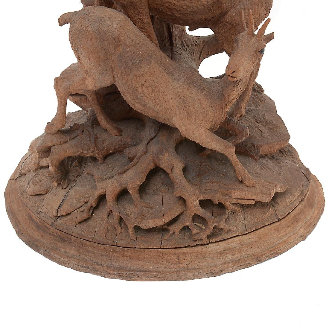 Swiss Carved Wood Centerpiece of Two Mountain Goats, - 3